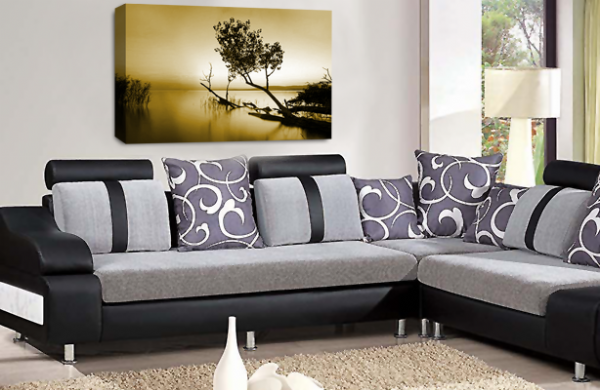 Landscape Wall Art Sepia Brown White Grey Seascape Picture Print